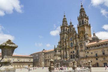 Facade of Santiago de Compostela cathedral in Obradoiro square
